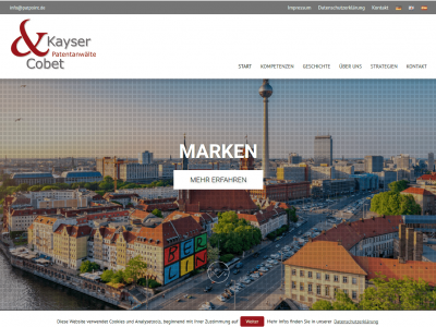 Screenshot Website-Relaunch Kayser & Cobet