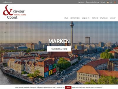 Screenshot Website-Relaunch Kayser & Cobet